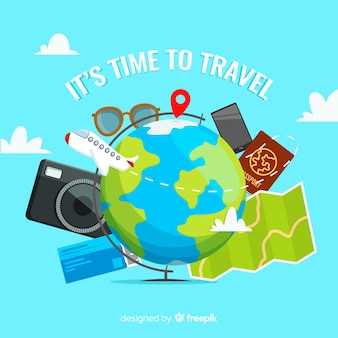 Flat travel background