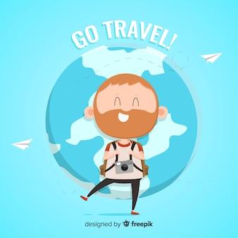 Flat travel background