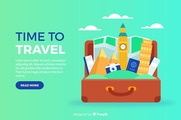 Flat travel banner with suitcase
