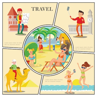 Flat travel composition with women relax on beach man riding camel tourists near famous world sights