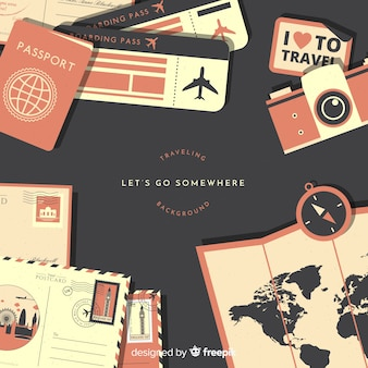 Flat travel documents background