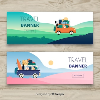 Flat travel element banner template