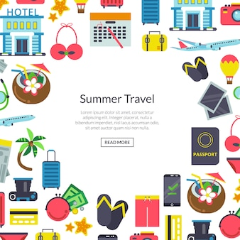 Flat travel elements background illustration with place for text in center