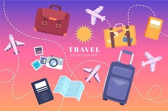 Flat travel elements background