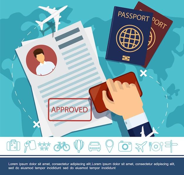 편평한 여행 요소 개념