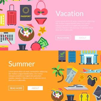 Flat travel elements horizontal web banners illustration