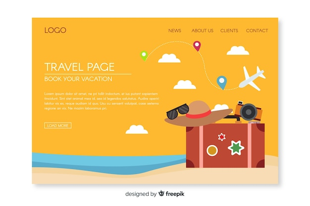 Flat travel elements landing page