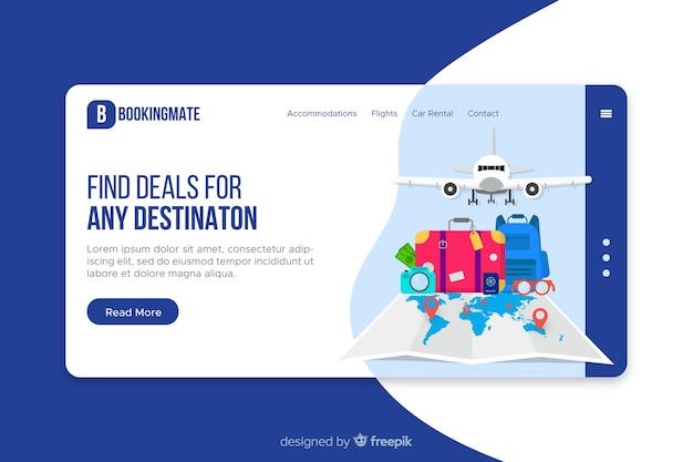 Flat travel elements landing page