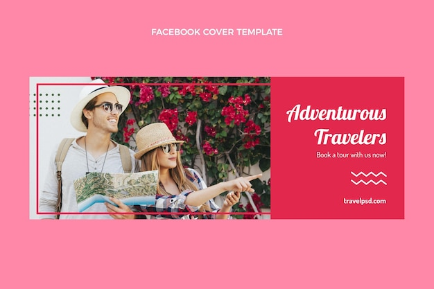 Flat travel facebook cover template