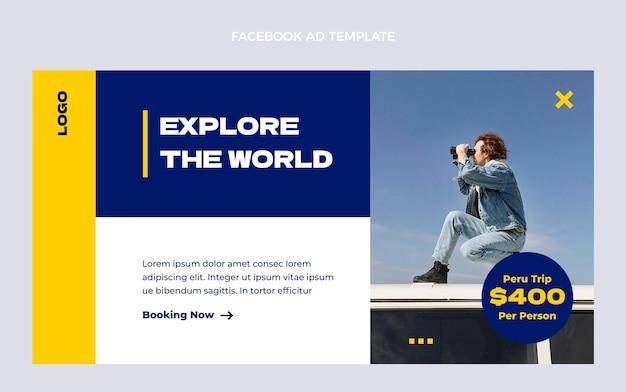 Flat travel facebook post template