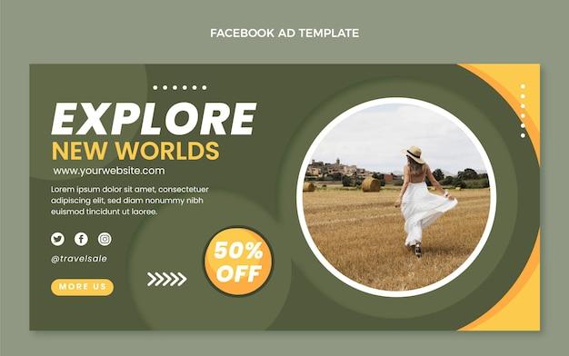Modello promozionale di facebook da viaggio piatto