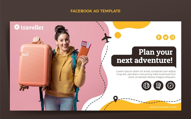 Плоский шаблон путешествия facebook Бесплатные векторы