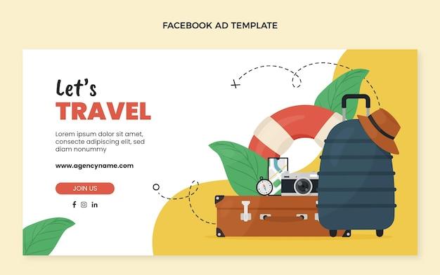 Плоский шаблон путешествия facebook