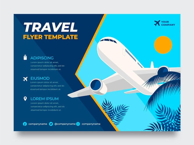 Flat travel flyer template with plane