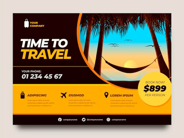Flat travel flyer template with sunset