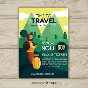 Flat travel flyer template