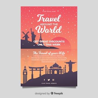 Flat travel flyer template