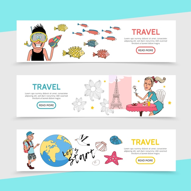 Flat travel horizontal banners with traveler diver romantic girl sitting at table in paris happy tourist