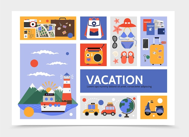 Flat  travel infographic with cruise ship taxi car scooter bag map camera radio swimsuit sunglasses