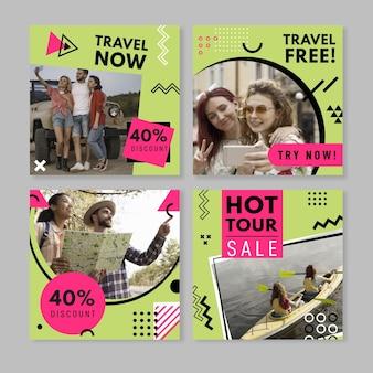 Raccolta di post instagram di viaggio piatto