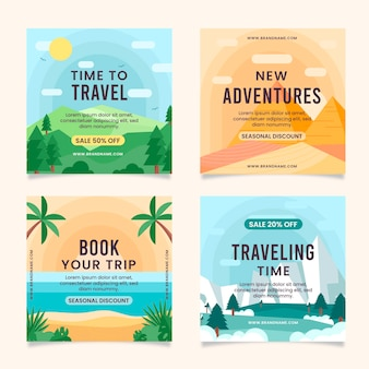 Flat travel instagram post set