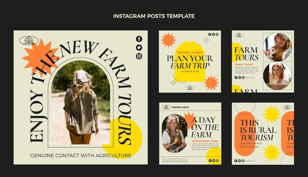 Flat travel instagram posts collection
