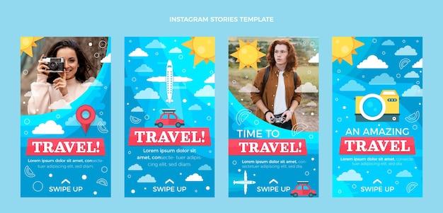 평평한 여행 Instagram 이야기 모음 프리미엄 벡터