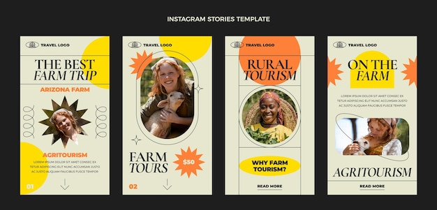 Flat travel instagram stories collection