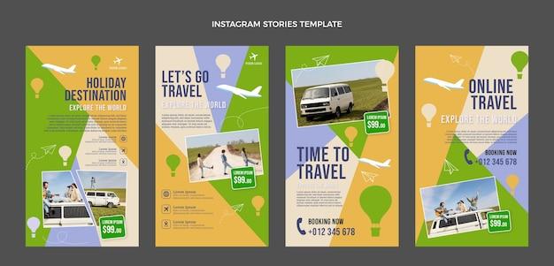 Flat travel instagram stories set