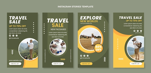 Flat travel instagram stories template
