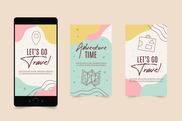 Flat travel instagram story collection