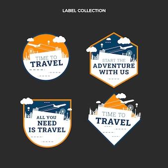 플랫 여행 라벨 컬렉션