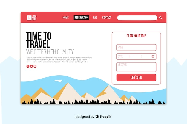 Flat travel landing page template
