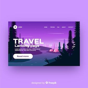 평평한 여행 방문 페이지 템플릿