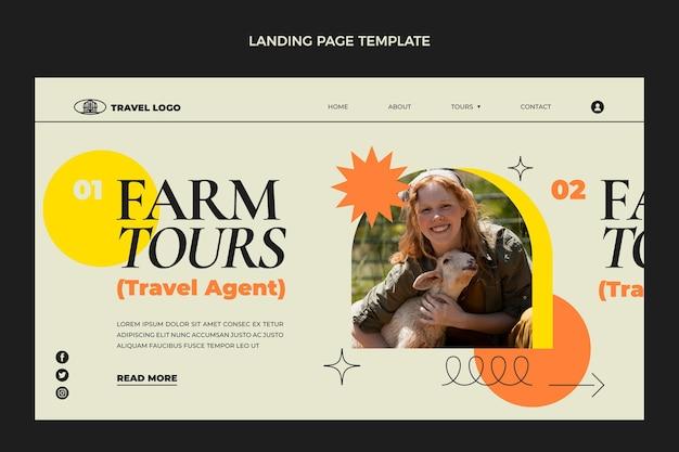 플랫 여행 방문 페이지 템플릿