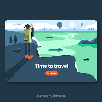 Flat travel landing page templatee