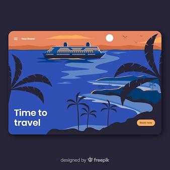 편평한 여행 방문 페이지 templatee