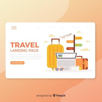 Flat travel landing page