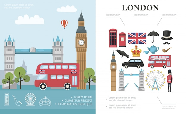 Flat travel to london composition with bus big ben tower bridge british royal guard and great britain national elements
