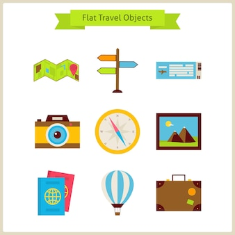 Flat travel objects set. summer holidays. vector illustration. collection of navigation and transportation objects isolated over white.
