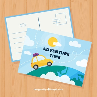 Flat travel postcard template with car
