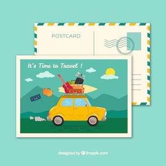 Шаблон для открытки с открытым автомобилем