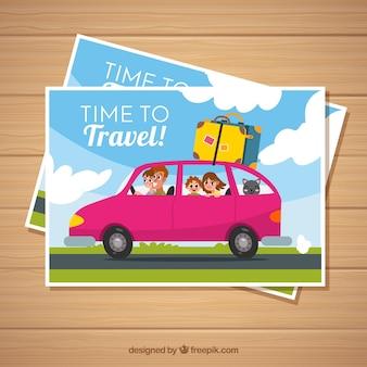 Modello di cartolina di viaggio piatto con auto