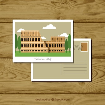 Flat travel postcard with coliseum