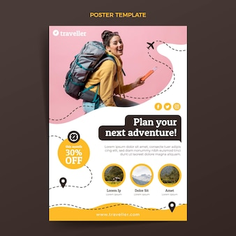 Flat travel poster template