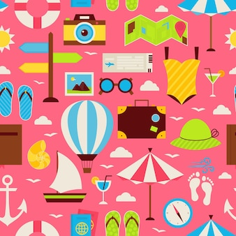 Flat travel resort vacation seamless pattern. voyage flat design vector illustration. tiling background. collection of summer holidays and beach colorful objects.