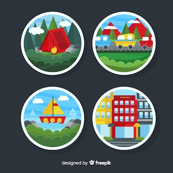 Flat travel scene badges collection