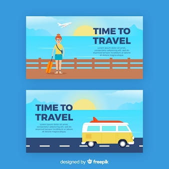 Flat travel scene banner template