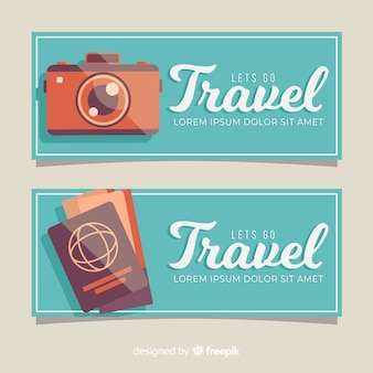 Flat travel simple banner template