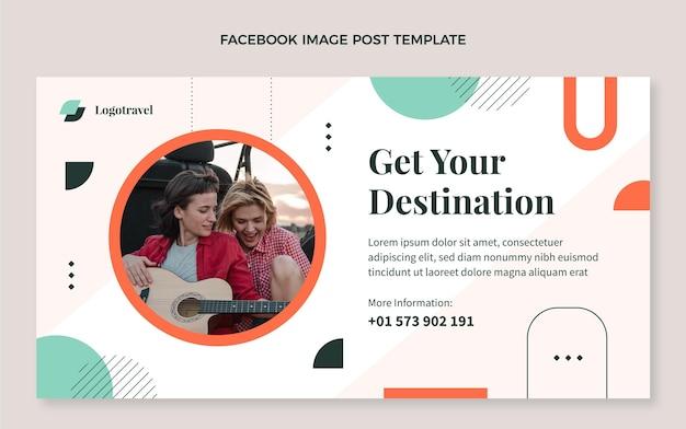 Flat travel social media promo template Free Vector